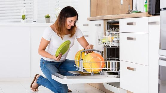 A dishwasher in a domestic home